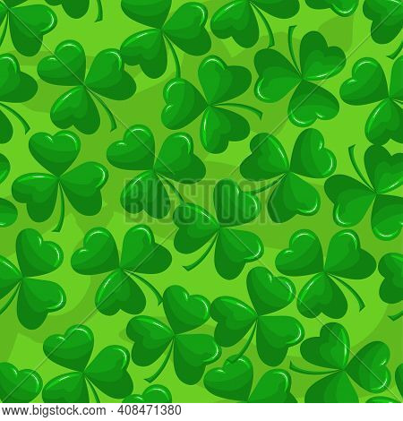 Saint Patrick's Day Pattern With Green Clovers, Shamrock. Irish Leprechaun Shenanigans Lucky Charm.