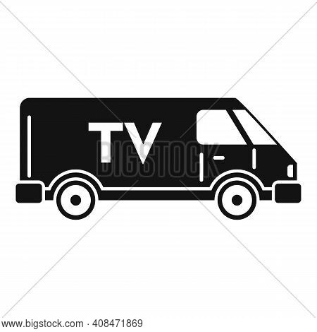 Tv Van Vehicle Icon. Simple Illustration Of Tv Van Vehicle Vector Icon For Web Design Isolated On Wh