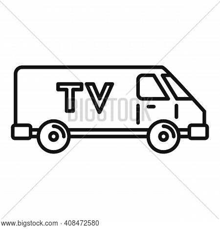 Tv Van Vehicle Icon. Outline Tv Van Vehicle Vector Icon For Web Design Isolated On White Background