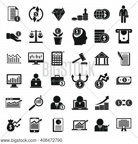 Broker Icons Set. Simple Set Of Broker Vector Icons For Web Design On White Background