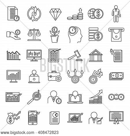 Broker Auditor Icons Set. Outline Set Of Broker Auditor Vector Icons For Web Design Isolated On Whit