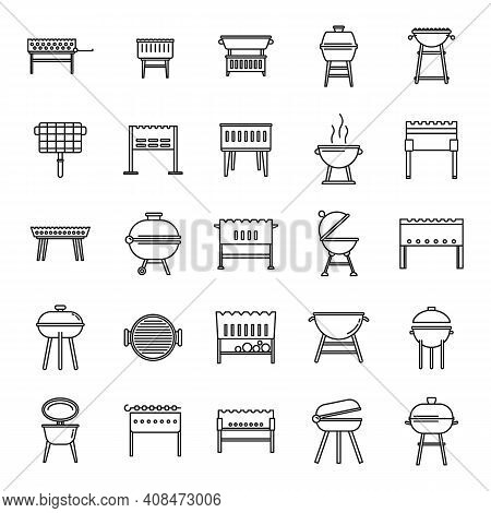 Bbq Brazier Icons Set. Outline Set Of Bbq Brazier Vector Icons For Web Design Isolated On White Back