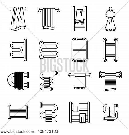 Home Heated Towel Rail Icons Set. Outline Set Of Home Heated Towel Rail Vector Icons For Web Design