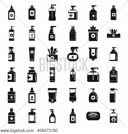 Antiseptic Bottle Icons Set. Simple Set Of Antiseptic Bottle Vector Icons For Web Design On White Ba