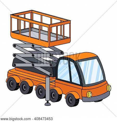 Machine With Lifting Mechanism Icon. Cartoon Of Machine With Lifting Mechanism Vector Icon For Web D