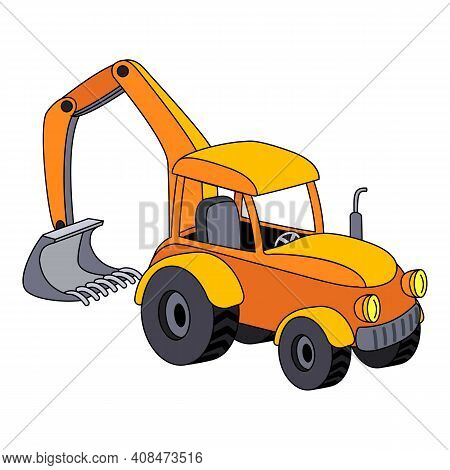 Tractor With Bucket Icon. Cartoon Of Tractor With Bucket Vector Icon For Web Design Isolated On Whit
