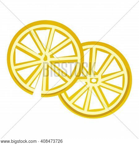 Slices Of Lemon Icon. Cartoon Of Slices Of Lemon Vector Icon For Web Design Isolated On White Backgr