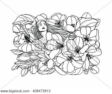 Girl In Apple Tree Flowers. Vector Linear Illustration. Black And White