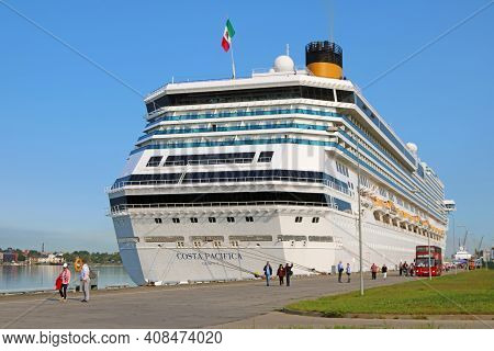 Riga, Latvia - August 29, 2018: Costa Pacifica Cruise Ship In The Port. It Is A Concordia-class Crui
