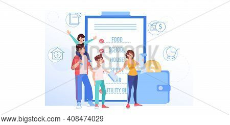 Vector Cartoon Flat Happy Family Characters Buy Goods.parents And Kids Use Grocery Shopping List For