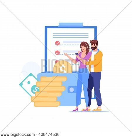 Vector Cartoon Flat Happy Characters Couple Buy Goods.young People Use Grocery Shopping List For Buy