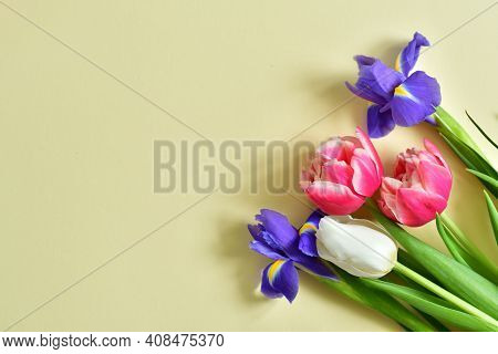 Bright Spring Bouquet On Yellow Background.white Tulips, Irises, Gentle Mimosa.spring Mood. Spring C