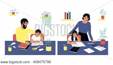 Parents Help Their Children Do Their Homework. Study, Study Process At Home. The Girl Writes In A No