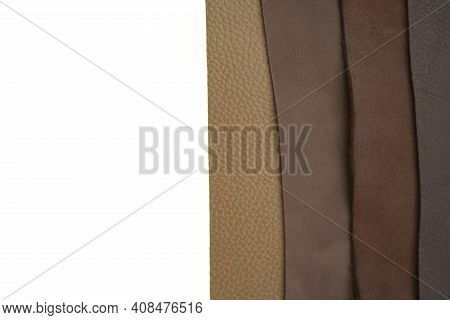 Brown Real Leather Set Isolated On White Background.natural Leather Texture .material For Shoes, Clo