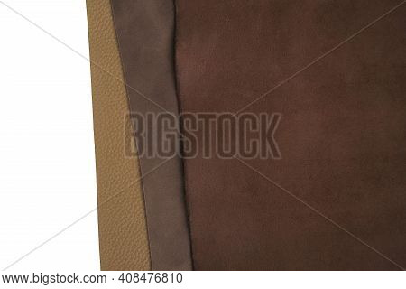 Brown Real Leather Mixed Set Isolated On White Background.natural Leather Texture Close-up.material