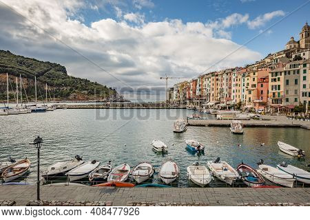 Porto Venere, Italy - October 2020: Beautiful Coastal Town Portovenere In Cinque Terre National Park