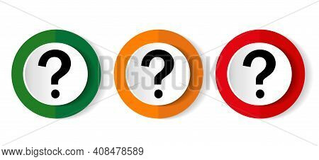 Question Mark Icon Set, Flat Design Vector Illustration In 3 Colors Options For Webdesign And Mobile