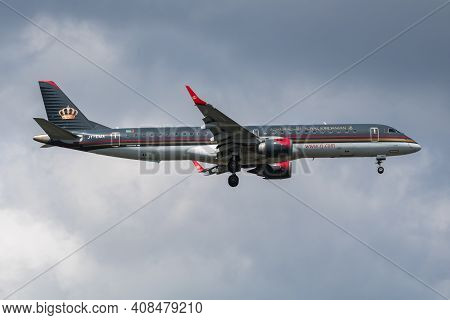 Istanbul, Turkey - March 30, 2019: Royal Jordanian Airlines Embraer 195 Jy-ema Passenger Plane Arriv