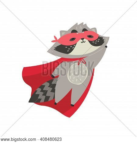 Cute Raccoon In Superhero Costume. You Are My Hero. Animal With Extraordinary Flying Abilities Wear
