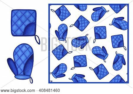 Set - Bright Blue Oven Mitt And Kitchen Mitt Isolated On White Background And Seamless Pattern. Wate