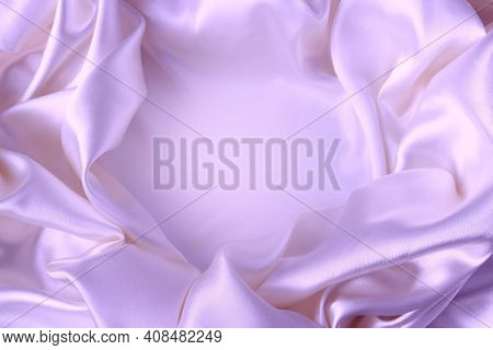 Lilac Satin Material With Beautiful Pleats. Silk, Satin - Natural Fabric. Texture, Wallpaper.
