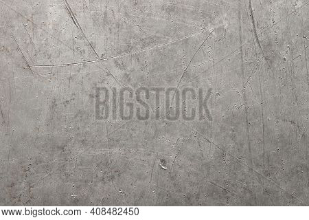 Gray Metallic Background, Old Metal Texture Aluminum Or Titanium. Industrial Metal Texture. Grunge R