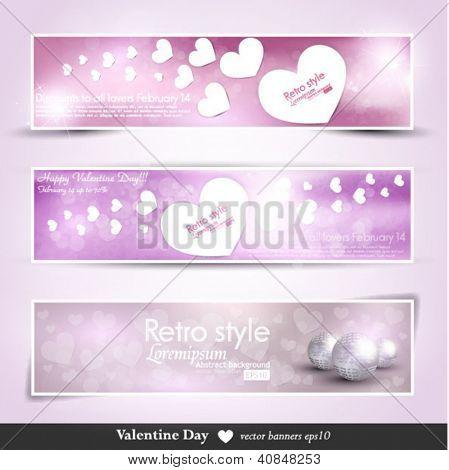 vilentine vector background brochure template. Set of vilentine cards, love. Banners with hert.