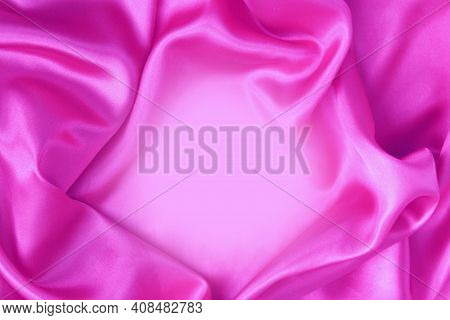 Pink Satin Material With Beautiful Pleats. Silk, Satin - Natural Fabric. Texture,