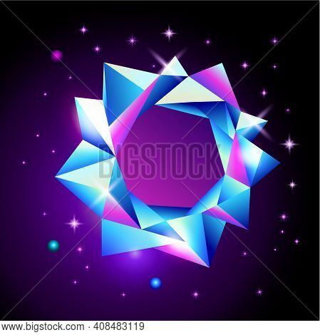 Abstract Trendy Cosmic Poster With Crystal Gems Frame And Pyramid Geometric Shapes In Space. Neon Ga