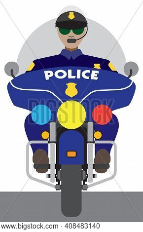 A Flat Vector Cartoon Motorcycle Cop Is Riding Toward The Viewer