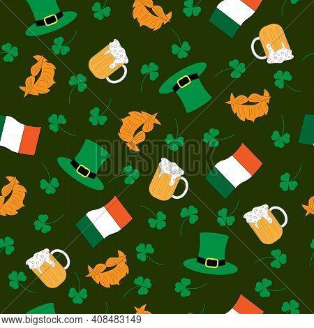 Seamless Pattern With Beer, Leprechaun Hat, Beard And Mustache, Shamrock And Irish Flag