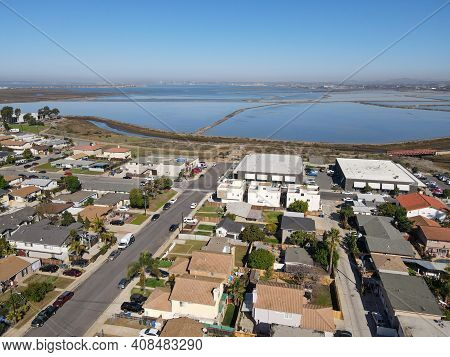 Aerial View Of Imperial Beach Residential Area And San Diego Bay On The Background, San Diego, Calif