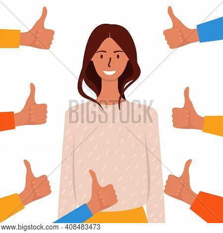 A Flat Cartoon Illustration Of A Smiling Woman Surrounded By Thumbs-up Hands. The Concept Of Public
