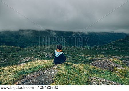 Young Woman Is Enjoying Beautiful Landscape Panorama Of Miners Tack In Snowdonia National Park In No