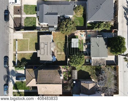 Aerial View Top View Of House In Imperial Beach Residential Area, San Diego, California, Usa