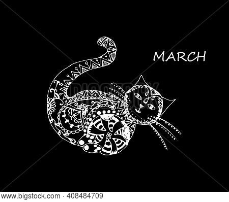 Single Hand Drawn Cat With Ball. In Doodle Style, White Outline Isolated On Black Background. Cute E