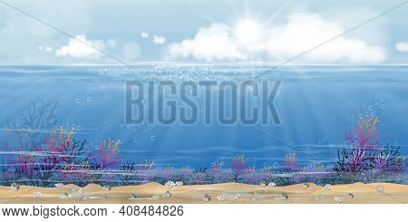 Underwater In Deep Sea Blue With Sun And Cloud On Island,bottom Of Ocean With Sun Ray Shining Throug