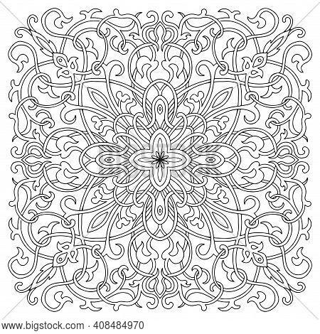 Hand-drawn Mandala Art, Tile In Oriental Style, Black And White Colors. Italian Majolica. Coloring P