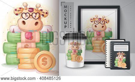 Giraffe Banker Poster And Merchandising. Vector Eps 10
