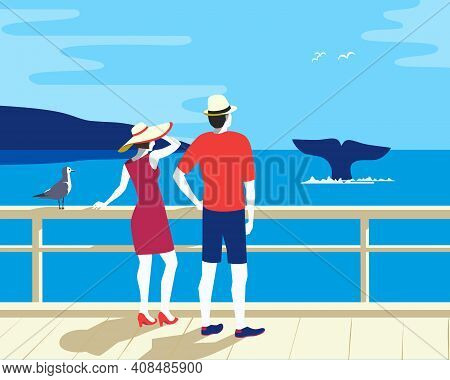 Whale Tail In Ocean Watching Tourism Flat Vector Poster. Couple On Whale Watching Boat Tour Cartoon
