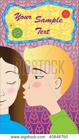 Blond boy kisses brunette girl  postcard