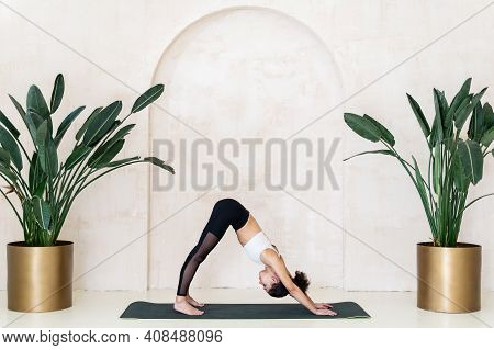 Health And Flexibility Body Concept. Sporty African American Woman Training On Yoga Class Alone, Sta