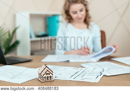 New House Or Reconstruction Apartment Concept. Professional Designer Making An Architect Drawing And