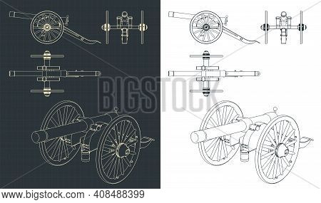 Vintage Artillery Cannon Drawings