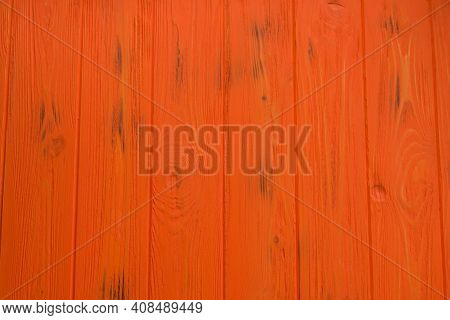 The Background Of Orange Painted Wood. Orange Wooden Planks Background Texture.