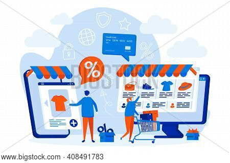 E-commerce Web Design Concept With People Characters. Customers Shopping Online Scene. E-commerce Di