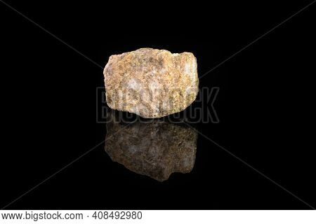 Sulfur In Rock From Gaurdak, Turkmenistan On Black Glass Background. Sulfur Mineral.