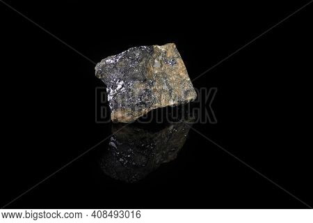 Galena, Galenit - Pbs, From Kajal, Kazakhstan On Black Glass Background.