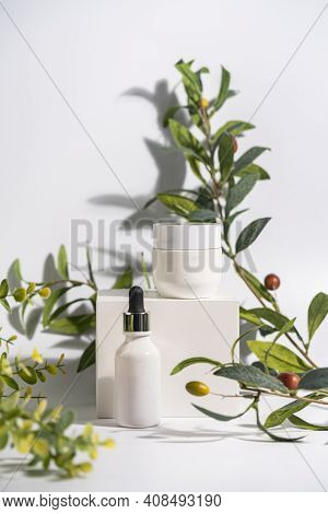 Cosmetic Cream And Serum Or Essential Oil Bottle On White Background With Olive Brenches. Bright Sha