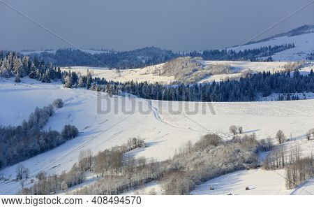 majestic winter scene in Carpathian mountains. Take it in Ukraine